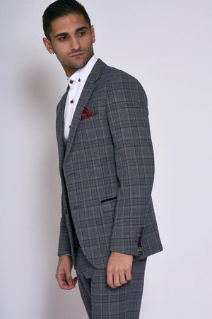 Enzo Grey Blue Check Tweed Wedding Suit - Wedding Suit Direct