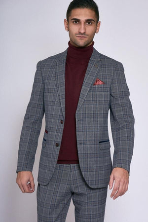 Enzo Grey Blue Check Tweed Wedding Jacket - Wedding Suit Direct