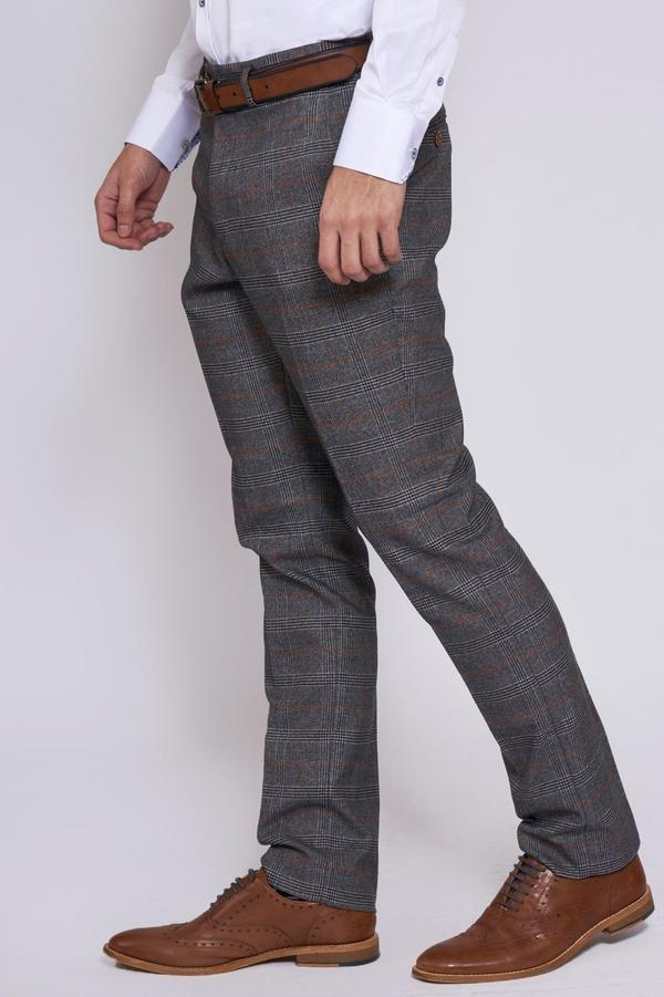 Jenson Grey Check Wedding Trousers - Wedding Suit Direct