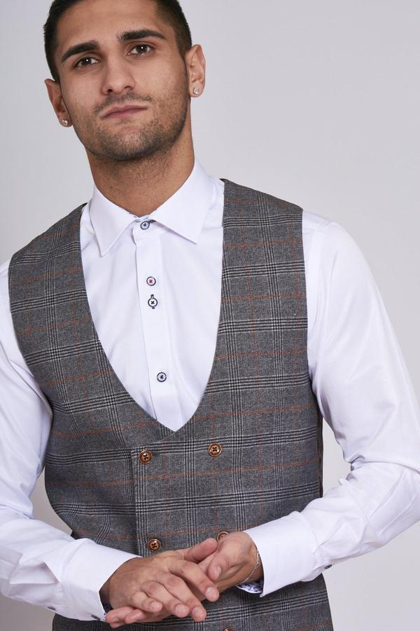 Jenson Grey Check Wedding Waistcoat - Wedding Suit Direct