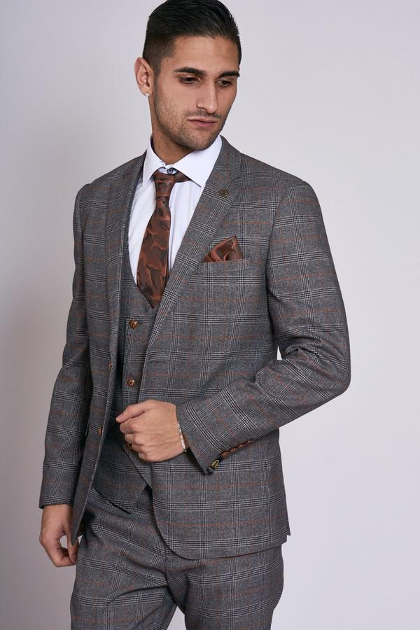 Jenson Grey Check Wedding Jacket - Wedding Suit Direct