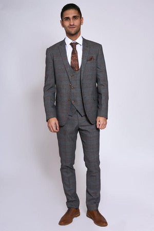 Jenson Grey Check Wedding Suit - Wedding Suit Direct