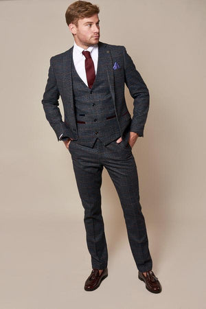 Luca Navy Check Tweed Suit - Wedding Suit Direct