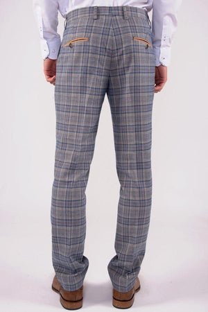 Enzo Blue Stone Check Tweed Wedding Trousers - Wedding Suit Direct