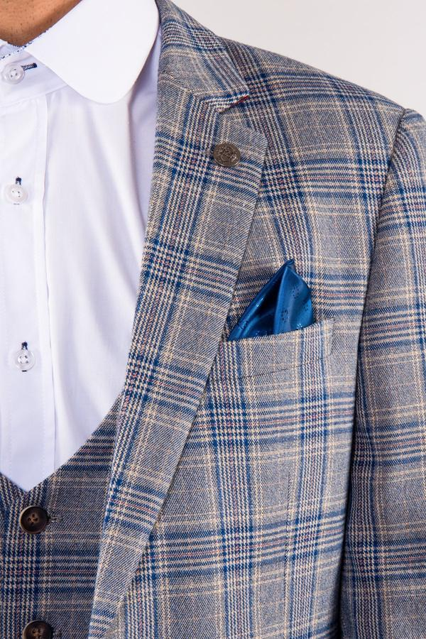 Enzo Blue Stone Check Tweed Wedding Jacket - Wedding Suit Direct