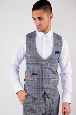 Enzo Blue Stone Check Tweed Wedding Suit - Wedding Suit Direct