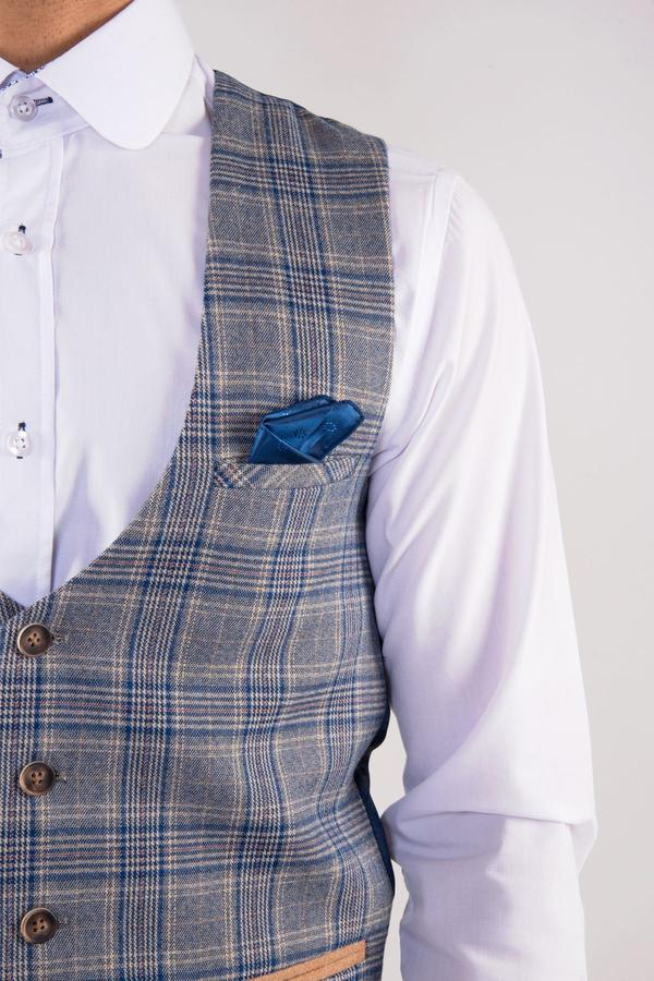 Enzo Blue Stone Check Tweed Wedding Waistcoat - Wedding Suit Direct