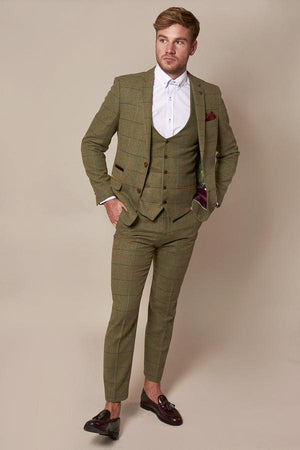 Ellis Green Check Tweed Three Piece Suit - Wedding Suit Direct