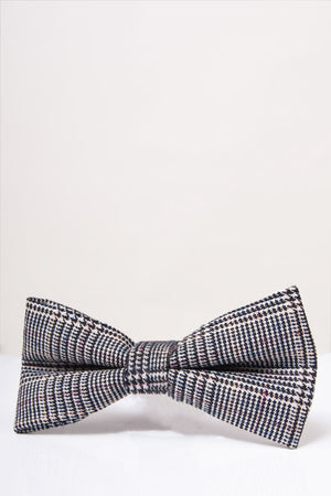Hampton Grey Check Bow Tie - Wedding Suit Direct