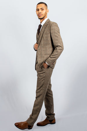 Alaska Brown Tweed Check Suit | Robert Simon - Wedding Suit Direct