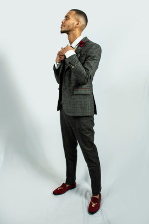 Darby Grey Tweed Check Suit | Fratelli - Wedding Suit Direct