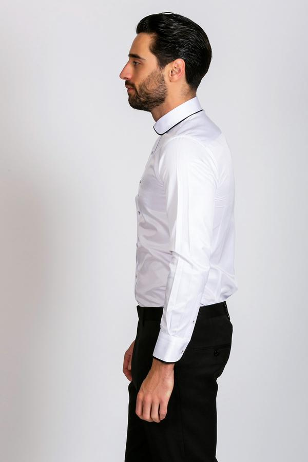 JON - White Contrast Penny Collar Shirt - Wedding Suit Direct