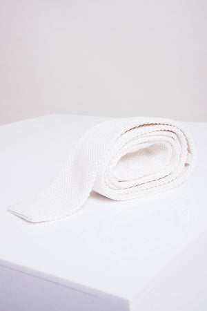 KT Cream Knitted Tie - Wedding Suit Direct