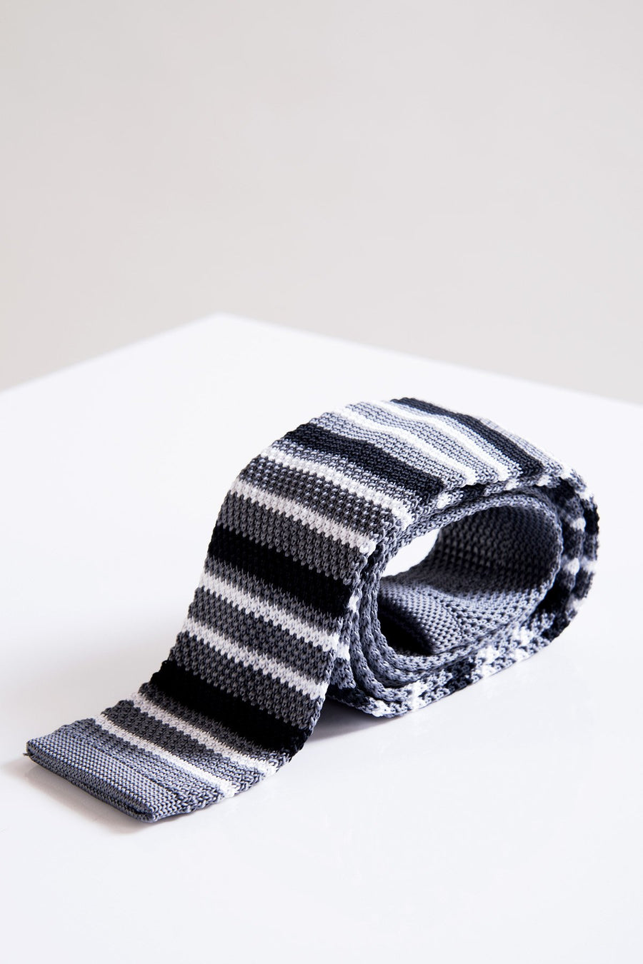 KT Grey Stripe Knitted Tie - Wedding Suit Direct