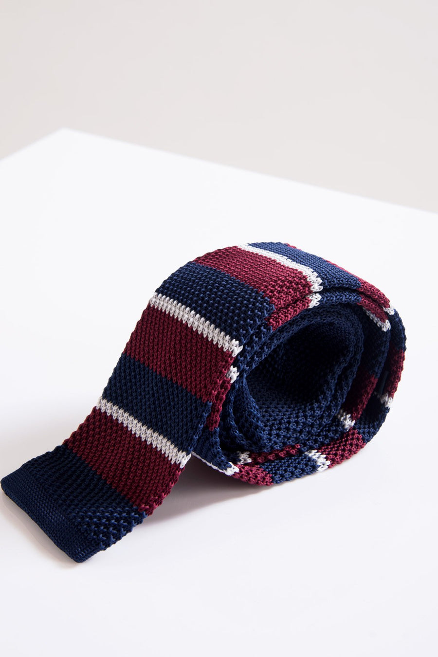 KT Wine & Navy Striped Knitted Tie - Wedding Suit Direct