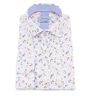 Blue Mini Butterfly Print Cotton Stretch Wedding Shirt - Wedding Suit Direct