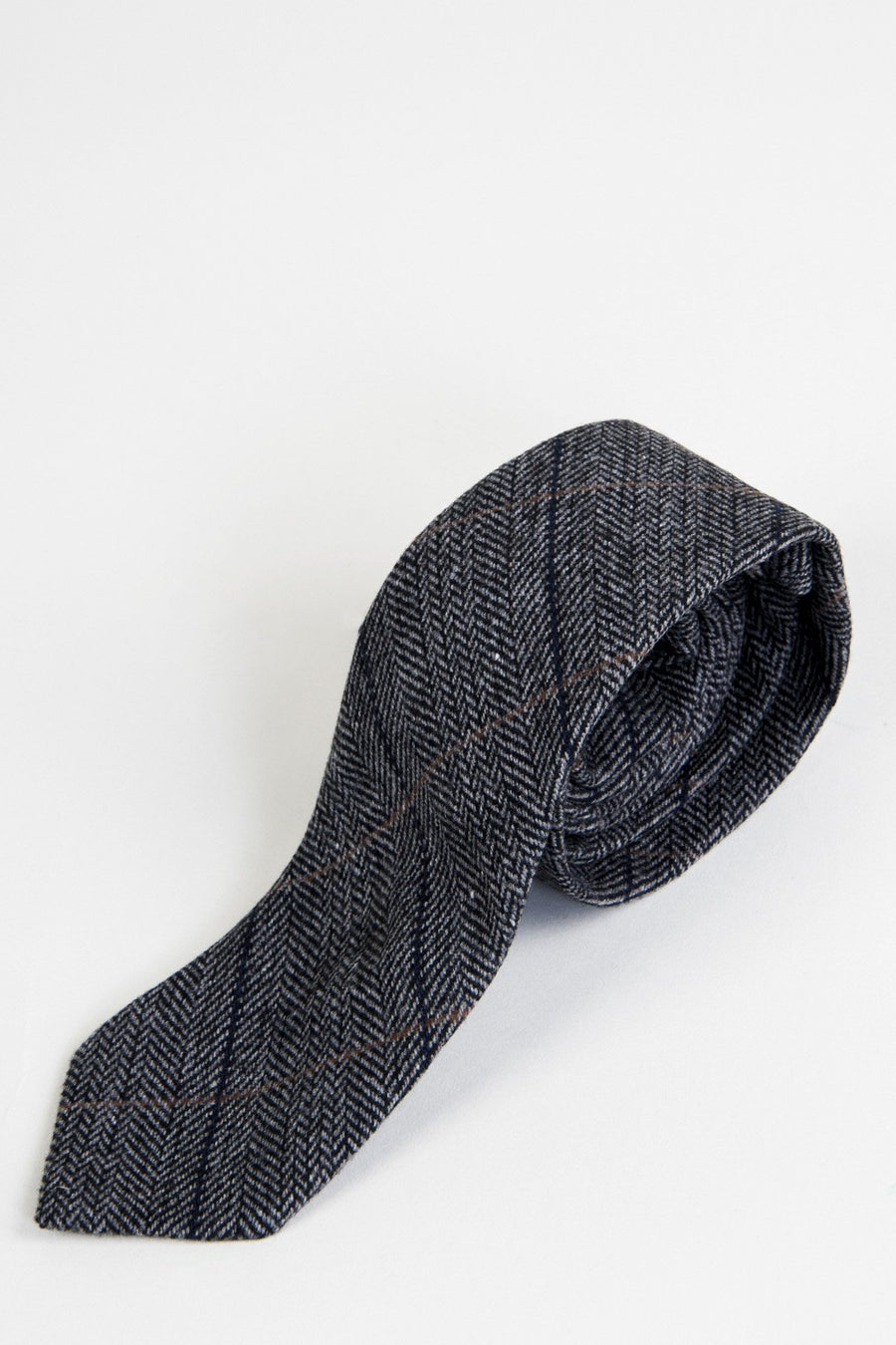 DX7 Charcoal Tweed Check Tie - Wedding Suit Direct
