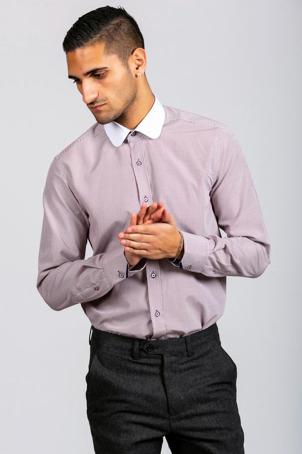 SHELBY - Wine Stripe Penny Collar Shirt - Wedding Suit Direct