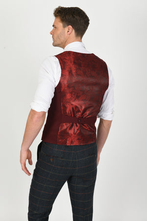 Kelly Wine Double Breasted Wedding Waistcoat - Wedding Suit Direct