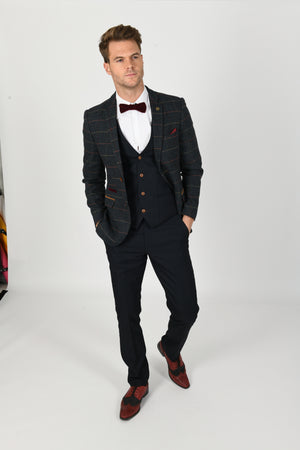 Max Navy Suit w/ Eton Jacket - Wedding Suit Direct