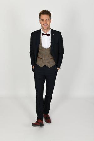 Max Navy Suit w/ Ted Tan Double Breasted Waistcoat - Wedding Suit Direct