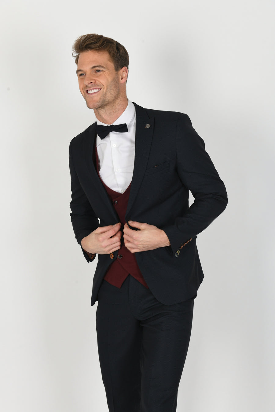 Max Navy Suit w/ Kelly Wine Double Breasted Waistcoat - Wedding Suit Direct