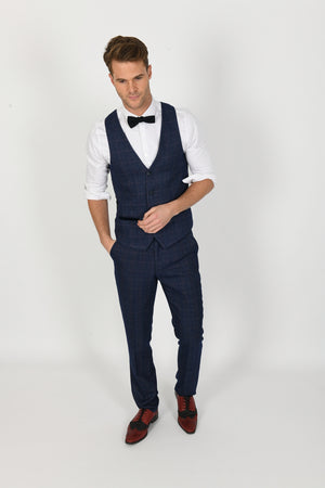 Harry Blue Wedding Waistcoat - Wedding Suit Direct