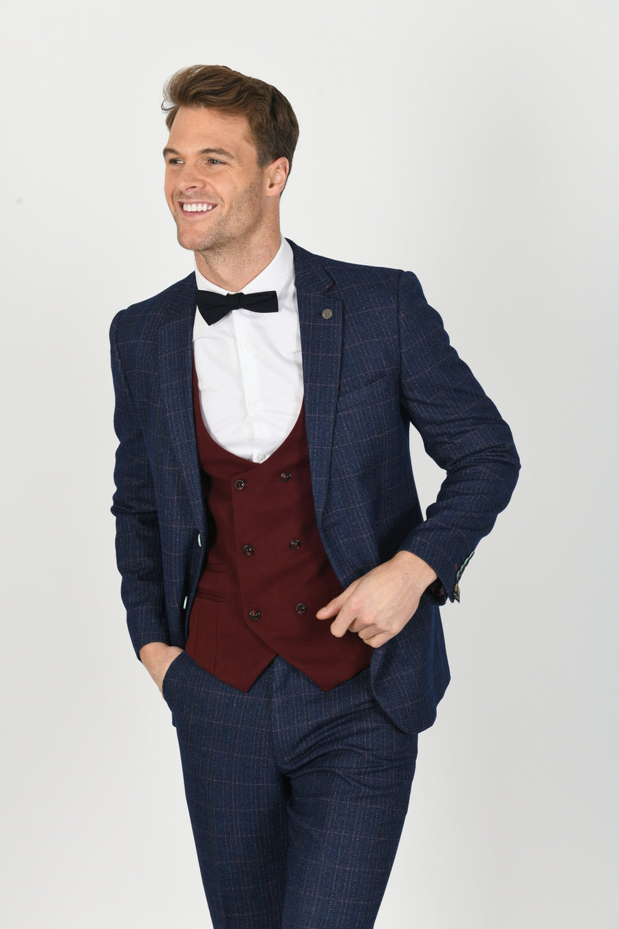 Harry Indigo Suit w/ Kelly Wine Double Breasted Waistcoat - Wedding Suit Direct