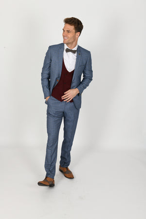 Matthew Suit w/ Kelly Wine Double Breasted Waistcoat - Wedding Suit Direct
