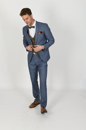 George Light Blue Suit w/ Ted Tan Waistcoat - Wedding Suit Direct