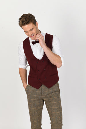 Ted Tan Suit w/ Kelly Wine Double Breasted Waistcoat - Wedding Suit Direct