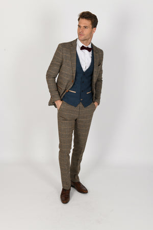 Ted Tan Suit w/ Dion Blue Waistcoat - Wedding Suit Direct