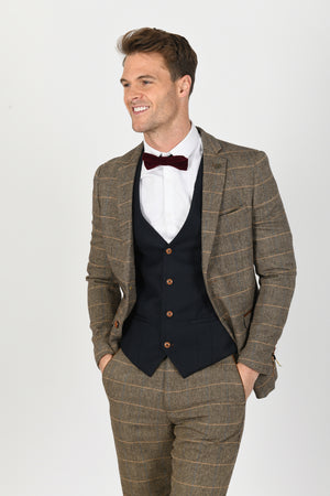 Ted Tan Suit w/ Max Navy Waistcoat - Wedding Suit Direct