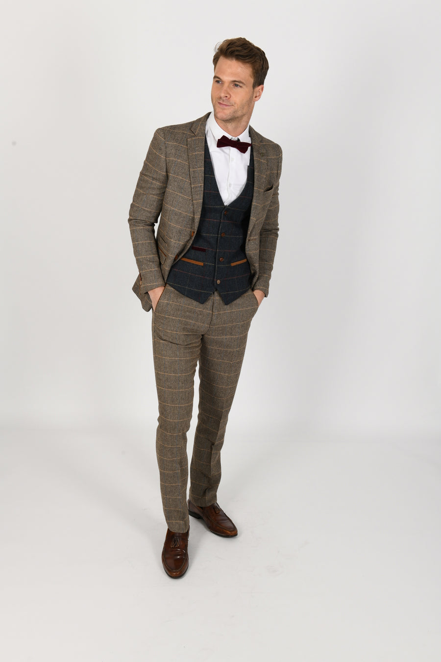 Ted Tan Suit w/ Eton Waistcoat - Wedding Suit Direct