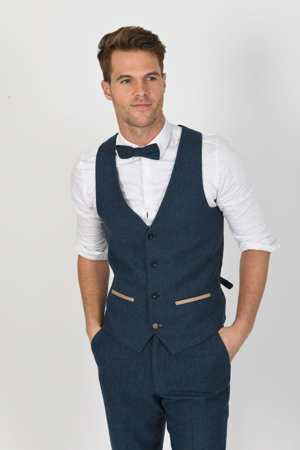 Dion Blue Wedding Waistcoat - Wedding Suit Direct