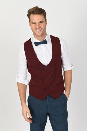 Dion Suit w/ Kelly Wine Double Breasted Waistcoat - Wedding Suit Direct