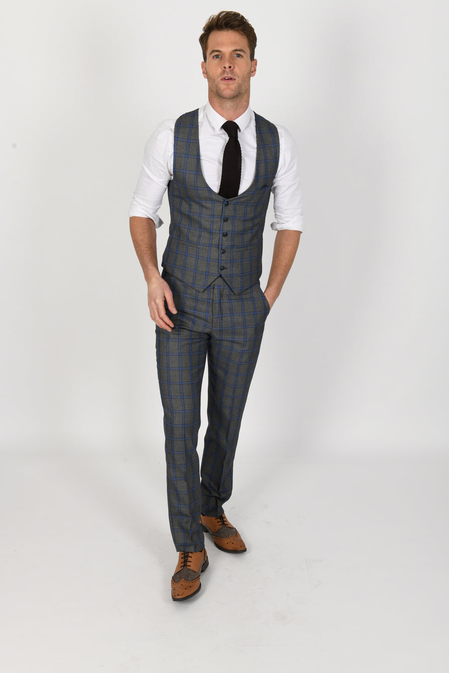Roman Grey Wedding Waistcoat - Wedding Suit Direct