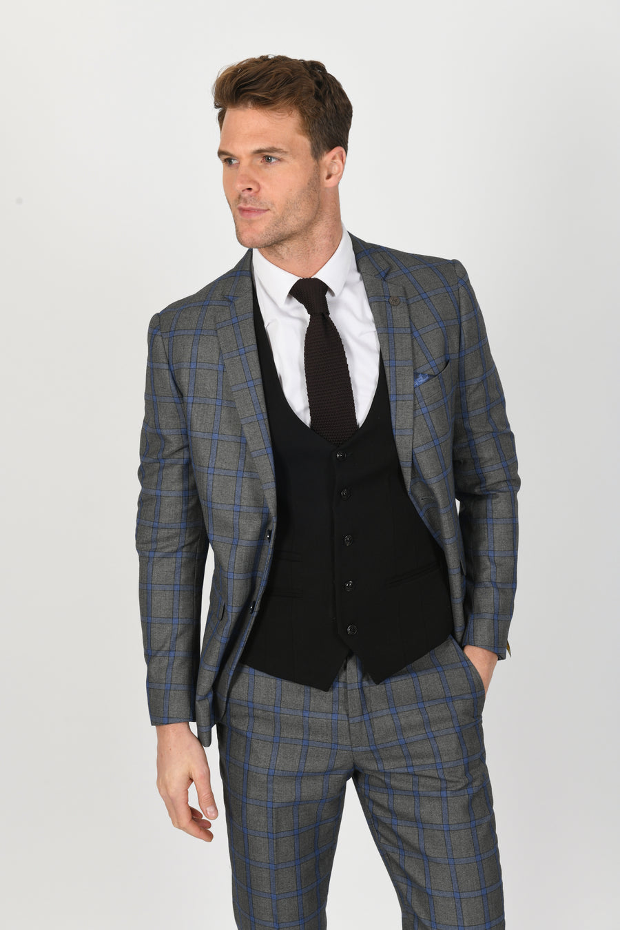 Roman Blue Suit w/ Kelly Black Waistcoat - Wedding Suit Direct