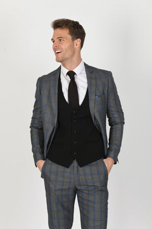 Roman Grey Suit w/ Kelly Black Waistcoat - Wedding Suit Direct