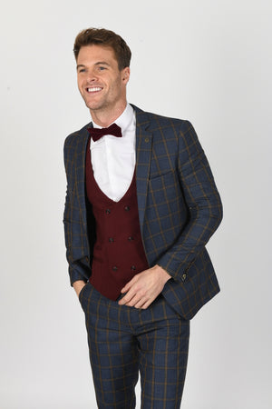 Roman Blue Suit w/ Kelly Wine Double Breasted Waistcoat - Wedding Suit Direct