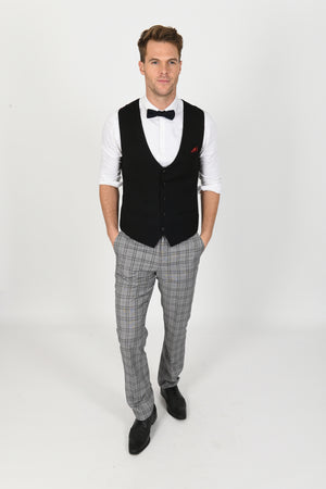 Kelly Black Single Breasted Wedding Waistcoat - Wedding Suit Direct