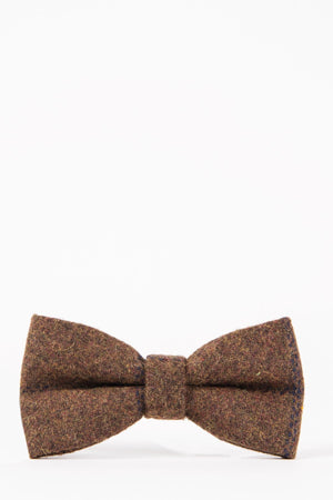 TB4 Brown Navy Check Tweed Suit Bow Tie - Wedding Suit Direct