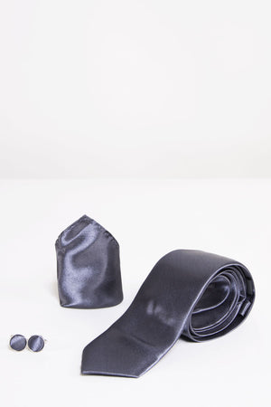 ST Charcoal Satin Tie, Cufflink & Pocket Square - Wedding Suit Direct