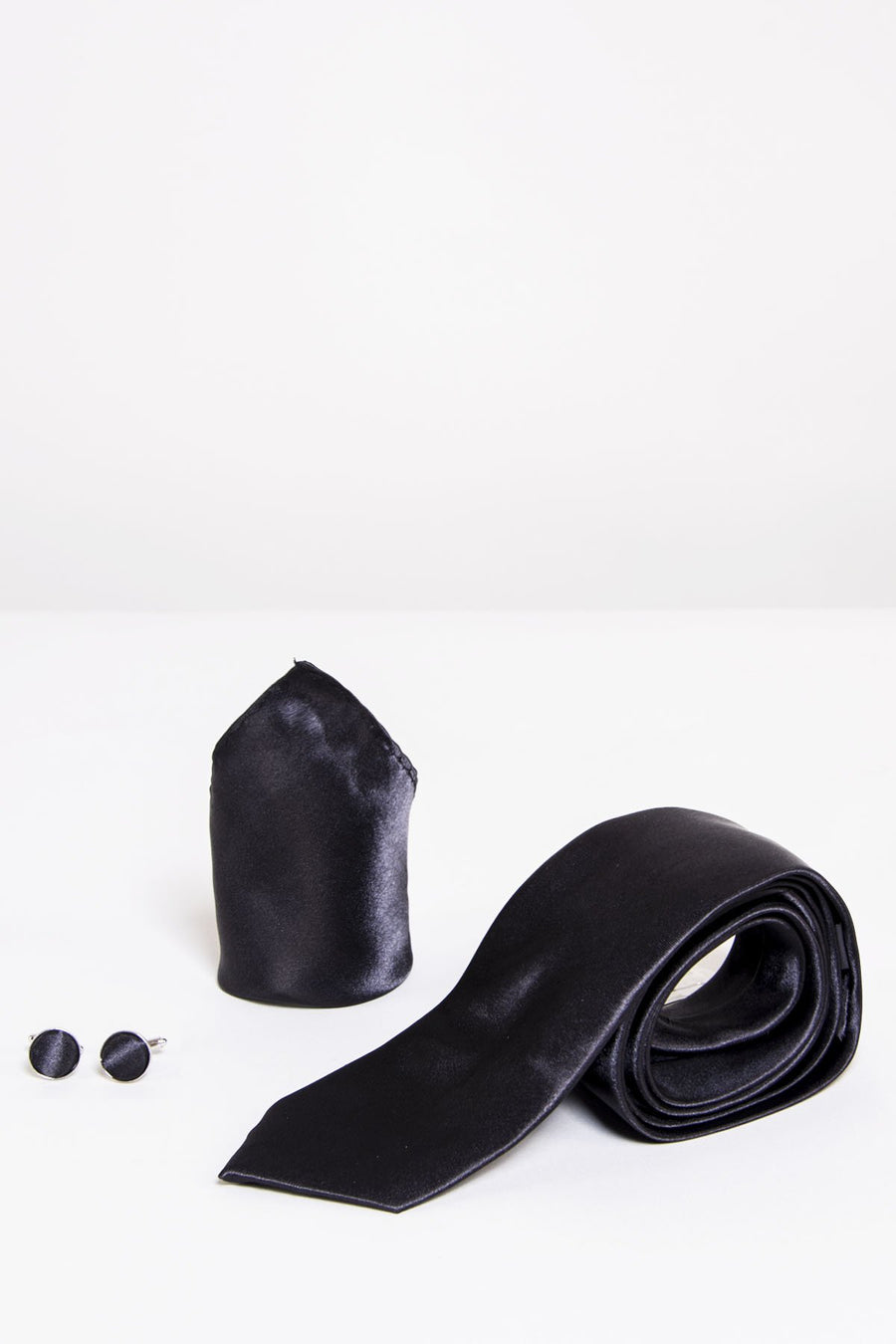 ST Black Satin Tie, Cufflink & Pocket Square - Wedding Suit Direct
