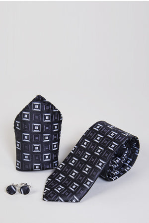 TB10 Charcoal Square Tie, Cufflink & Pocket Square - Wedding Suit Direct