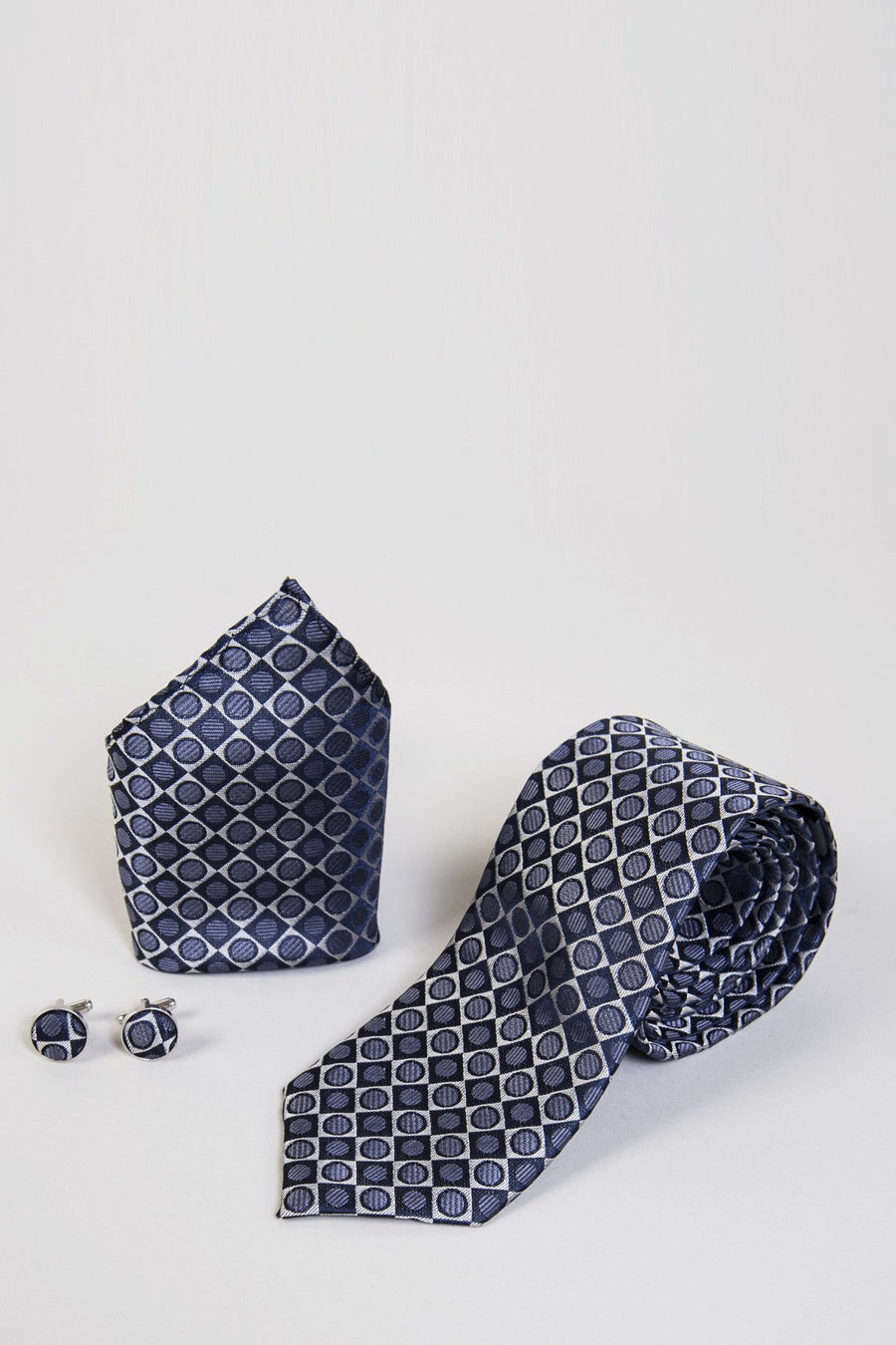 TB23 Circle and Square Tie, Cufflink & Pocket Square - Wedding Suit Direct