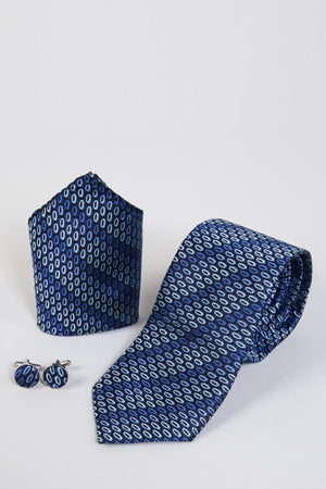 TB32 Blue Oval Tie, Cufflink & Pocket Square - Wedding Suit Direct