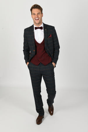 Eton Suit w/ Kelly Wine Double Breasted Waistcoat - Wedding Suit Direct