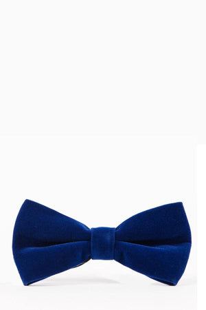 VELVET Electric Blue Velvet Bow Tie - Wedding Suit Direct