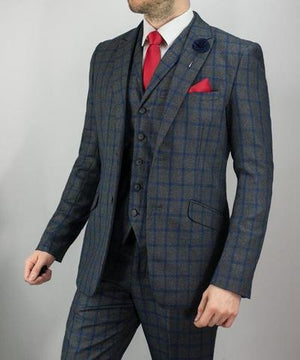 Vegas Check Tweed Three Piece Single Breasted Wedding Suit - Wedding Suit Direct